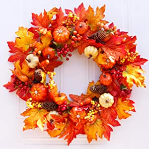 Honsky Fall Wreath 22 Inches with Pumpkin & Maple Leaf, Large Autumn Harvest Halloween Wreath for Front Door
