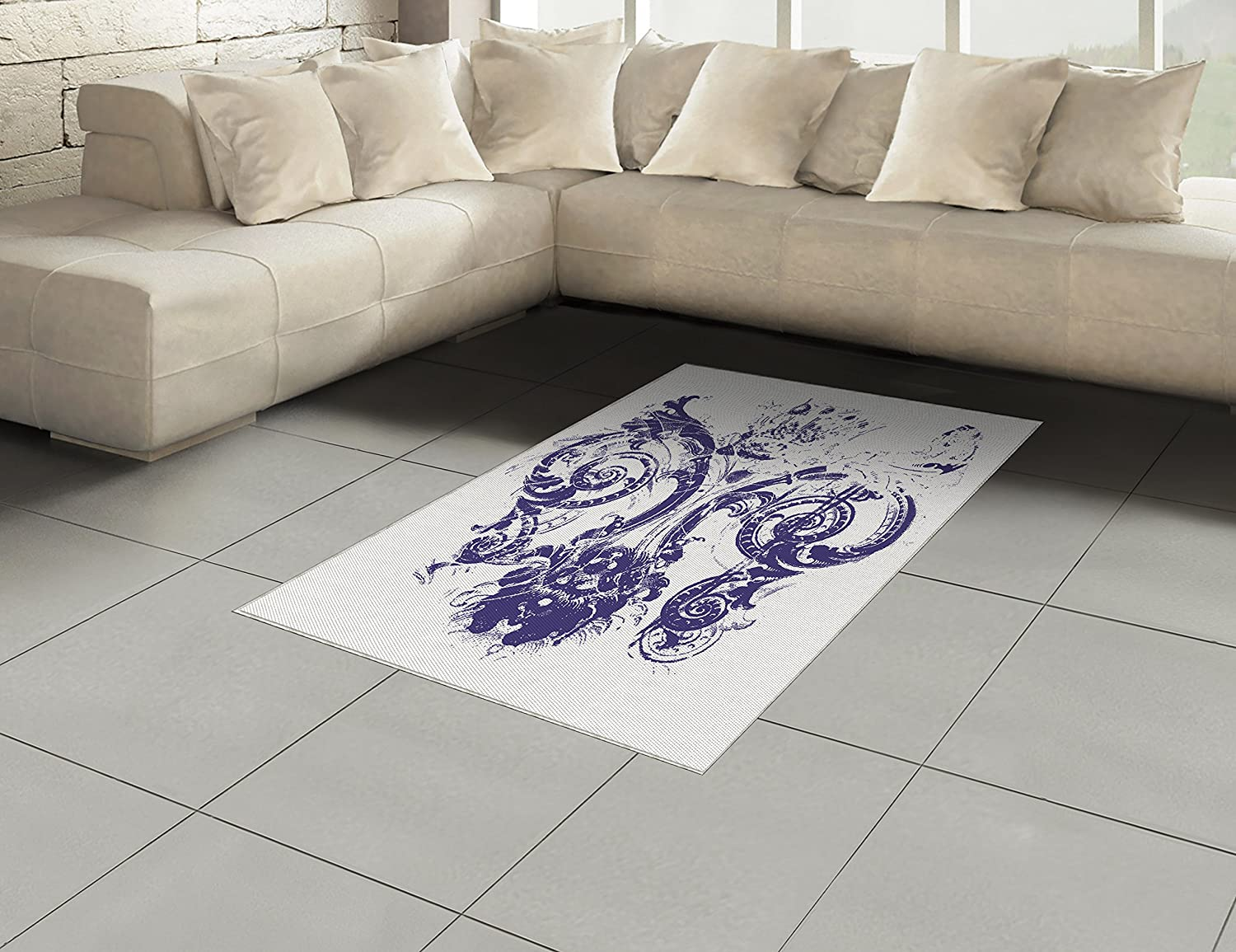 Amazon com ambesonne fleur de lis area rug digital grunge lily emperor flag victorian kingdom imperial theme print flat woven accent rug for living room
