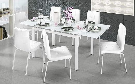 Dafnedesign.Com - Mesa Extensible Blanca, Cristal Blanco (cm. 120 ...