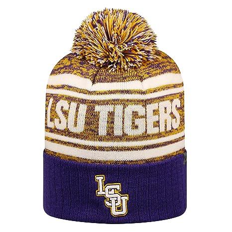 new style 71392 600b2 Amazon.com   LSU Tigers Driven Cuffed Pom Knit Beanie Hat   Cap   Sports    Outdoors