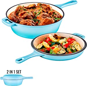 Enameled Blue 2-In-1 Cast Iron Multi-Cooker By Bruntmor – Heavy Duty 3 Quart Skillet and Lid Set, Versatile Healthy Design, Non-Stick Kitchen Cookware, Use As Dutch Oven Frying Pan