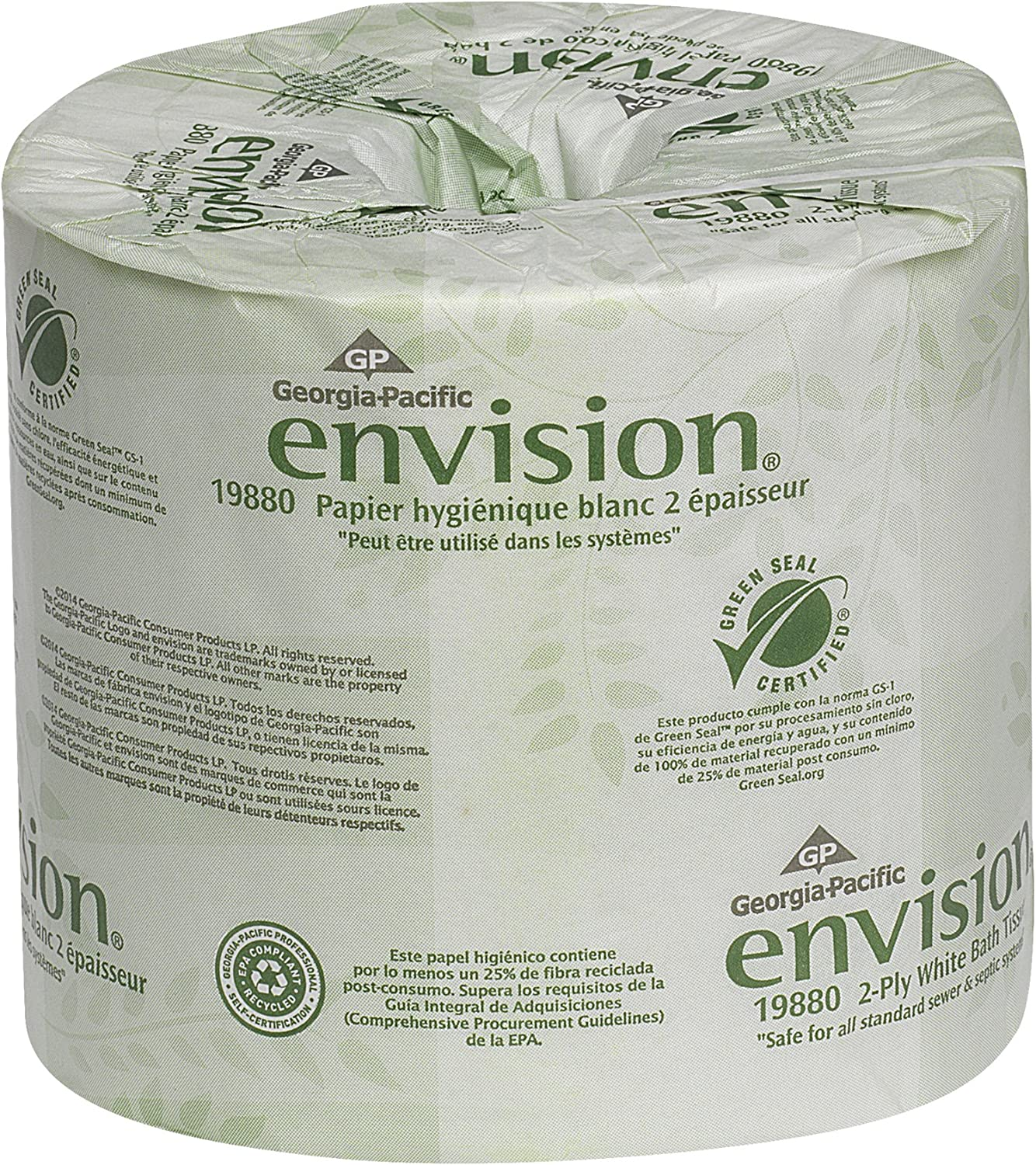 Envision 2-Ply Embossed Toilet Paper is one of the most eco friendly toilet paper around. It uses recycled paper fibers to help lessen it's environmental impact