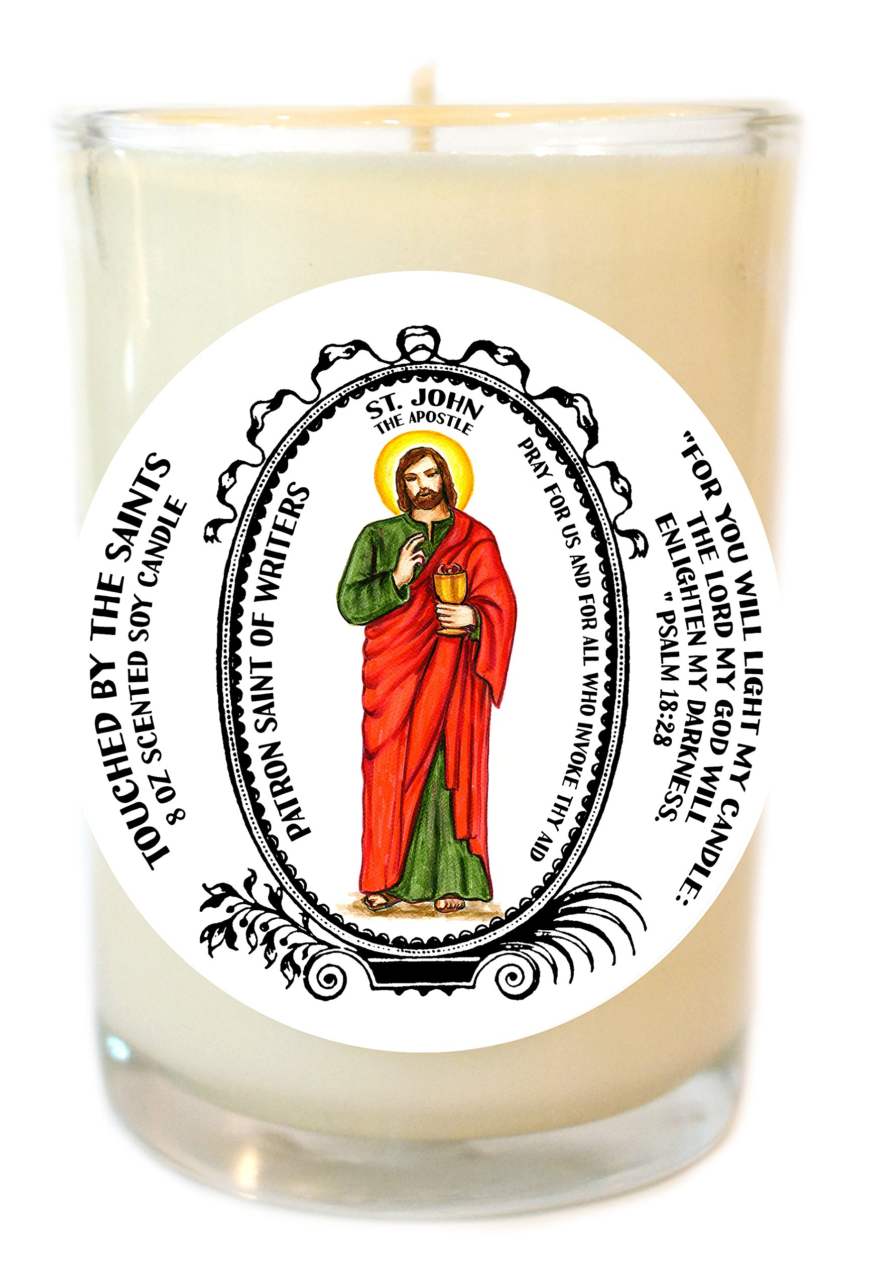 St John Apostle of Writers 8 Oz Scented Soy Glass Prayer Candle by Touched By The Saints