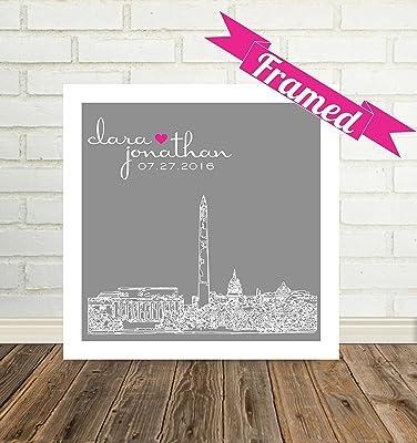 Washington DC Skyline Unique Wedding Gift for Couple Personalized Framed Art Any City Available WORLDWIDE!