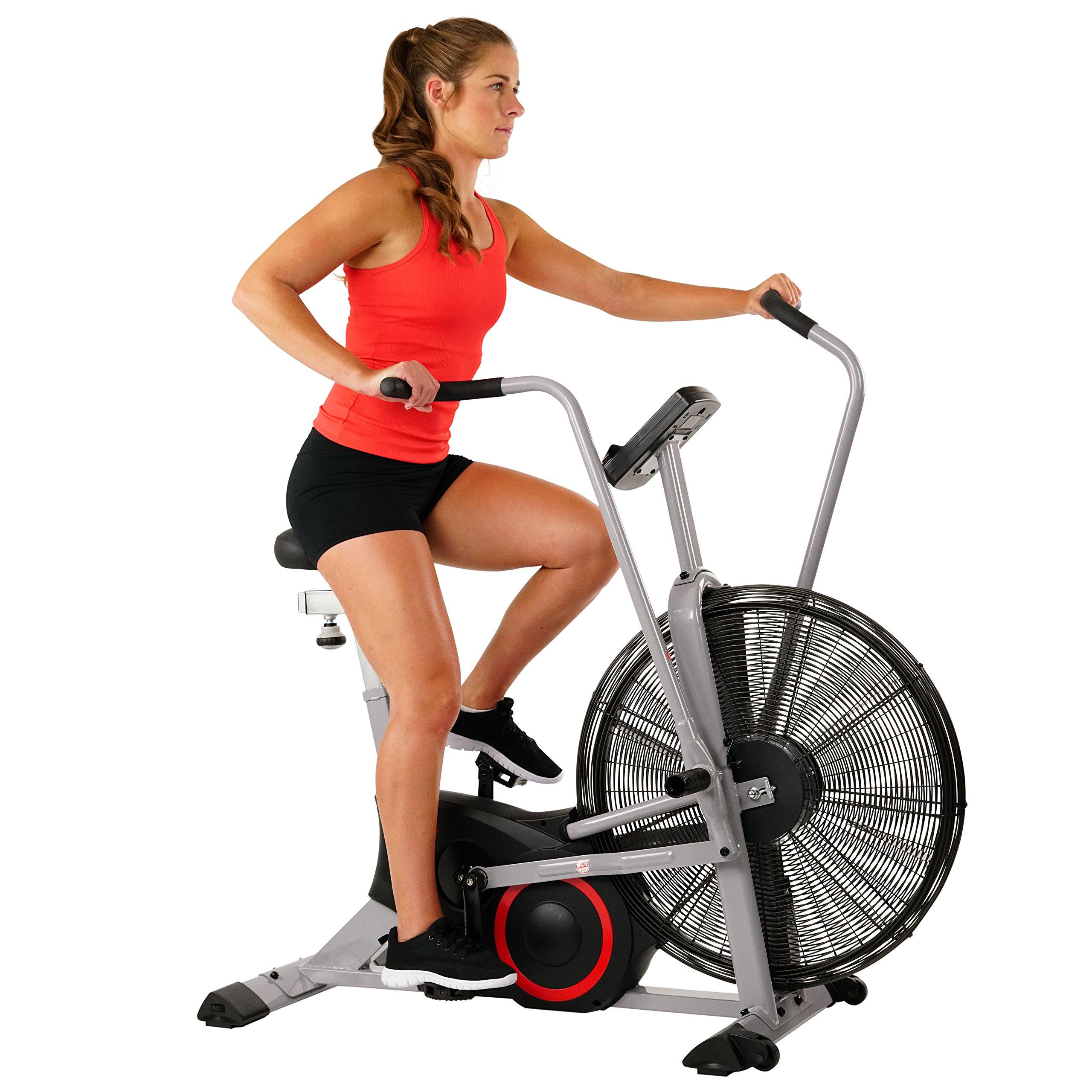 Sunny Health & Fitness SF-B2706 Exercise Fan Bike Bluetooth with Custom Workout Tornado Air Bike