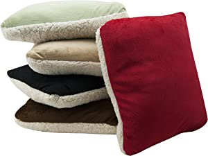 LCM Home Fashions Micro Mink/Sherpa Throw Blanket and Pillow, Tan