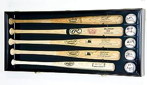 5 Baseball Bat Display Case Cabinet Holder Wall Rack Custom Options 98% UV - Lockable