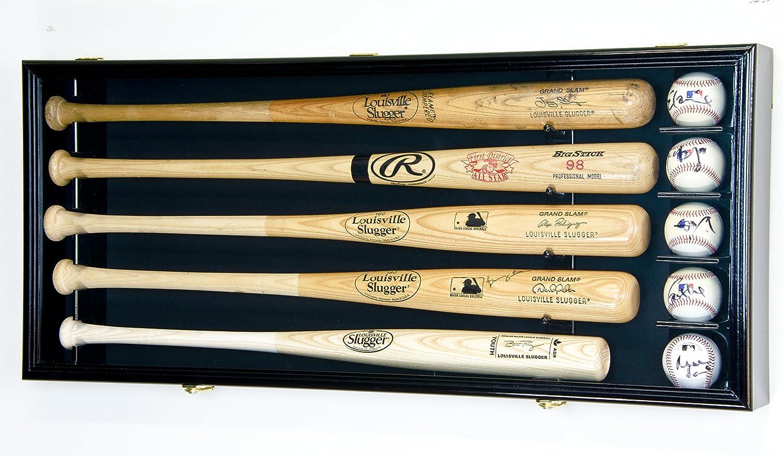 5野球バットディスプレイケースキャビネットホルダー壁ラックカスタムオプション98 % UV – Lockable B076J11MP8 Black Wood Finish