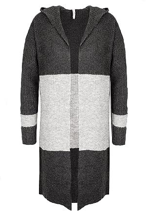 d1fa788dac Sublevel Damen Strick Cardigan mit Kapuze | Lange Strickjacke im  Colourblock Design Dark-Grey S: Amazon.de: Bekleidung