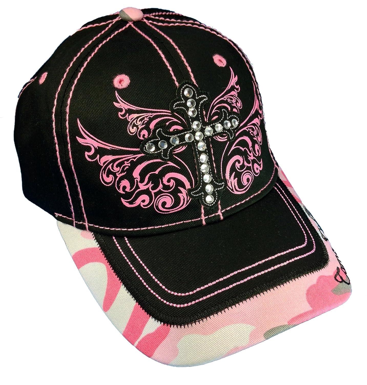 57a9e816c06 Amazon.com  Camo Cutie Cap Ladies Black Pink Rhinestone Cross Ball Cap  Womans Rhinestone Hat  Sports   Outdoors