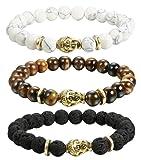 Amazon Price History for:FIBO STEEL 3-4 Pcs Lava Rock Stone Bracelet for Men Women Beaded Bracelets Elastic,8MM