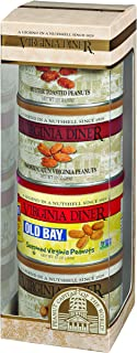 product image for Virginia Diner - Tower of Traditions Gift Set (Salted, Butter Toasted, Smoked Cajun, & Old Bay Seasoned Virginia Peanuts), Four 10 Ounce Tins