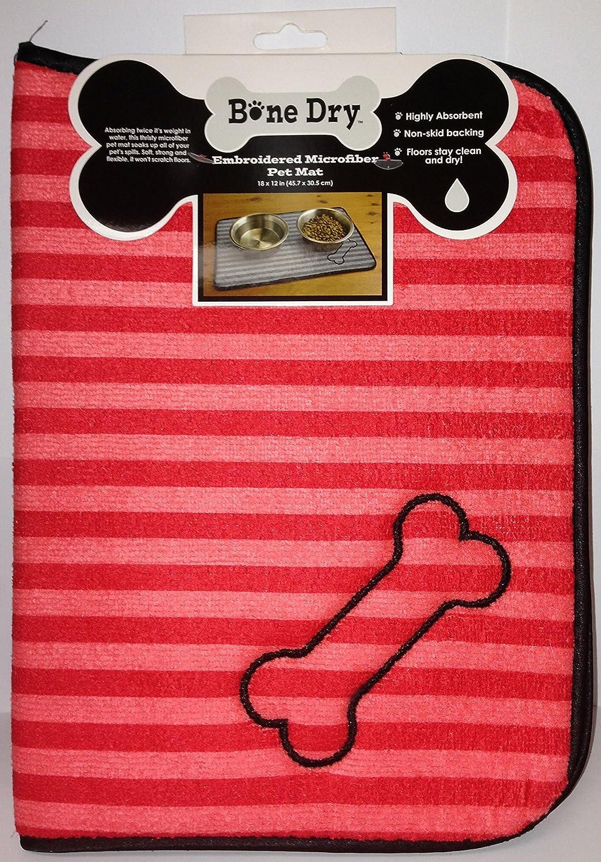 Bone Dry Embroidered Microfiber Pet Mat (Pink Red) Dog Bone Print