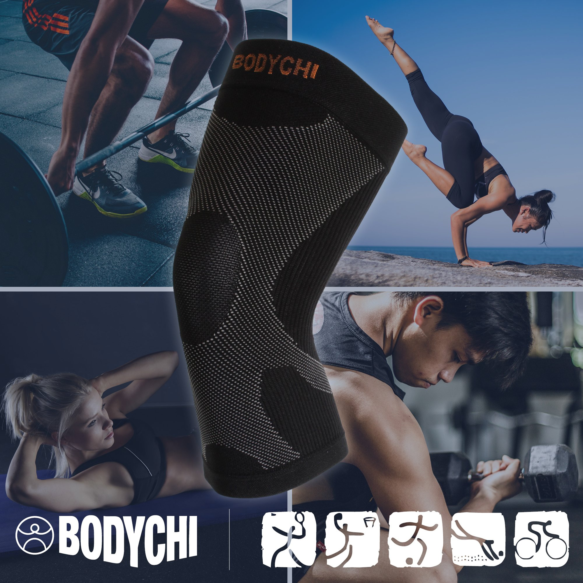 BODYCHI Men and Women Seamless 20-30 mmHg Compression Knee Support Sleeve for Joint Protection and Support for Running, Sports, Knee Pain Relief, Knee Sleeve, Comes in a Pair, Large by BODYCHI (Image #4)