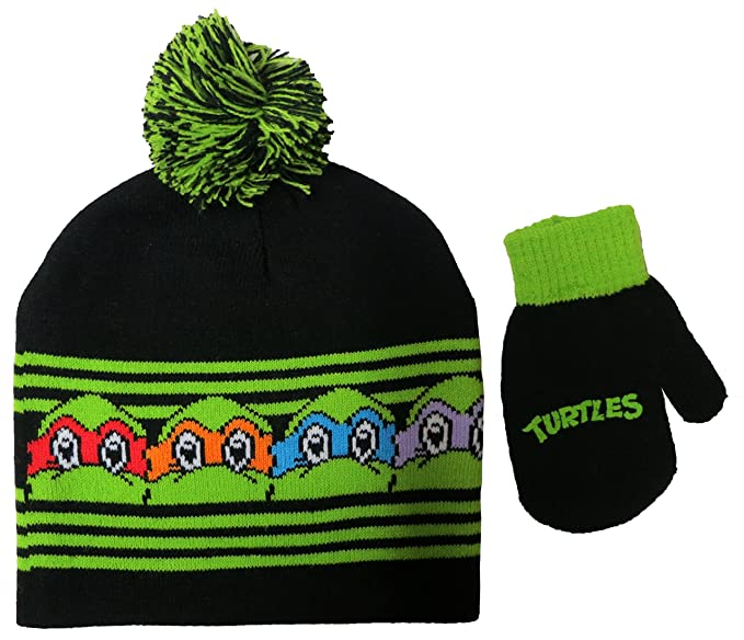 3cafb8241a9 Amazon.com  Teenage Mutant Ninja Turtles TMNT Beanie Hat and Mitten ...