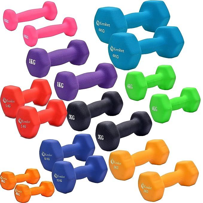 Mancuernas de neopreno para las manos (2 unidades), Gimnasio en casa Barra de ejercicio de 0,5 a 10 kg. Rutina de ejercicios para gimnasio en casa 0,5kg, ...