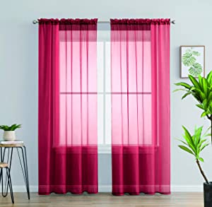 Jody Clarke 2PC Solid Sheer Panel Curtain Drape Long Fully Stitched for Wedding Quinceniera Party décor ( 2PC 54 X 84 RED )