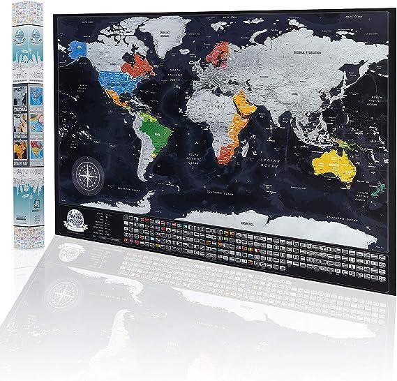 Mapa del mundo con banderas de los Estados en Estados Unidos ...