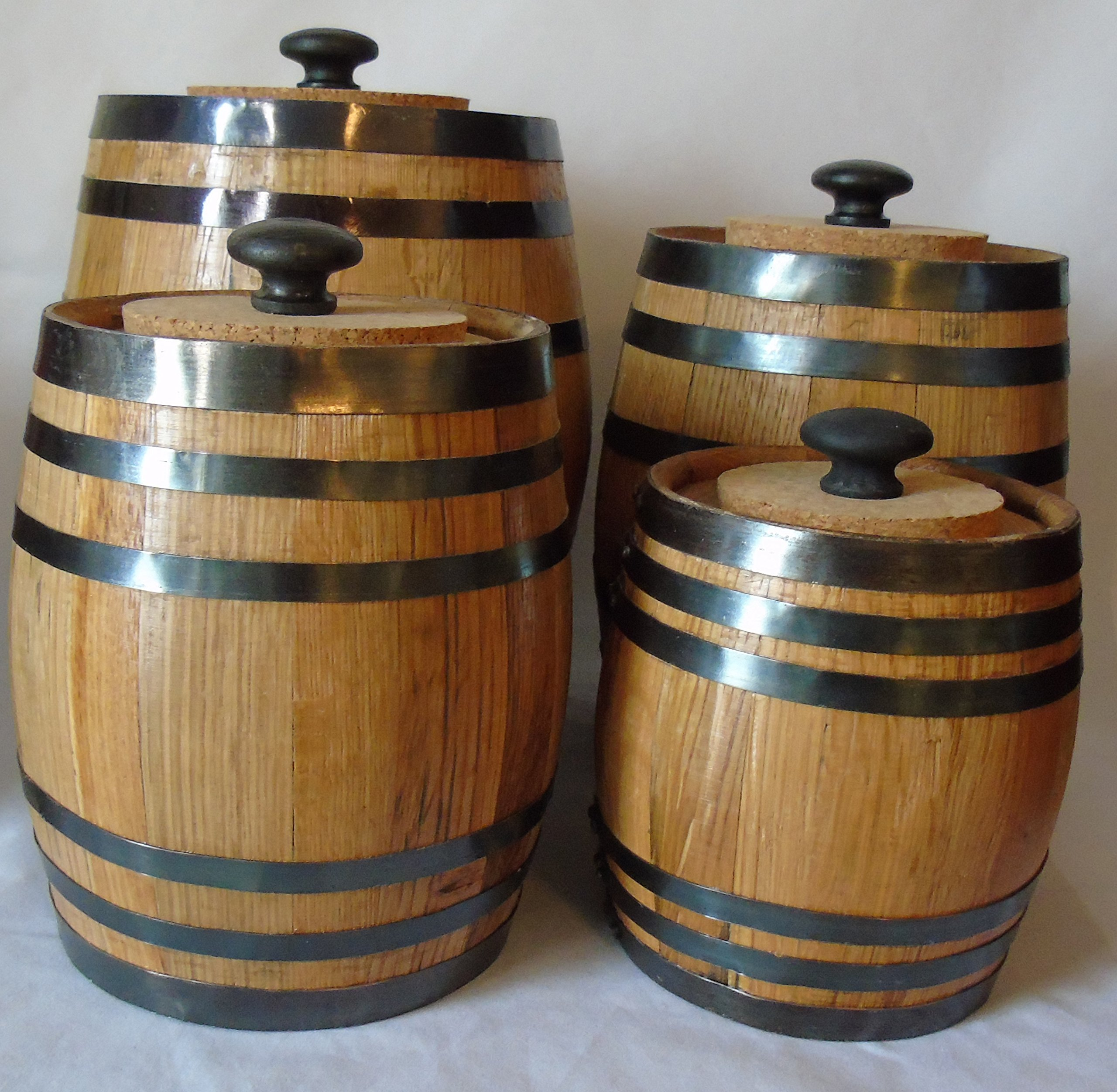 Authentic Oak Barrel Kitchen Canister Set by Red Head Barrels