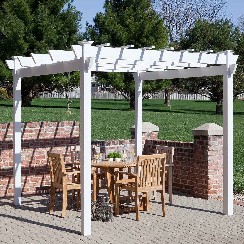 7 x 7 pies. Vinilo Pergola, versátil mesa de exterior, espacio para entretenimiento y relajarse, muy resistente, fiable cenador, una sombra Walkway, jardín característica, Gran adición a su jardín, fácil de montar: