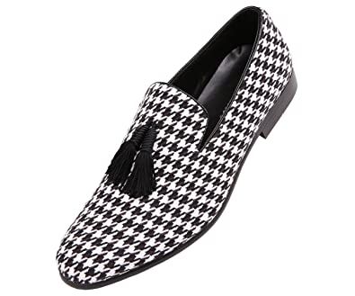 220ca29da1295 Amali Mens Two Tone Houndstooth Smoking Slipper Dress Shoe with Tassel :  Style Orleans