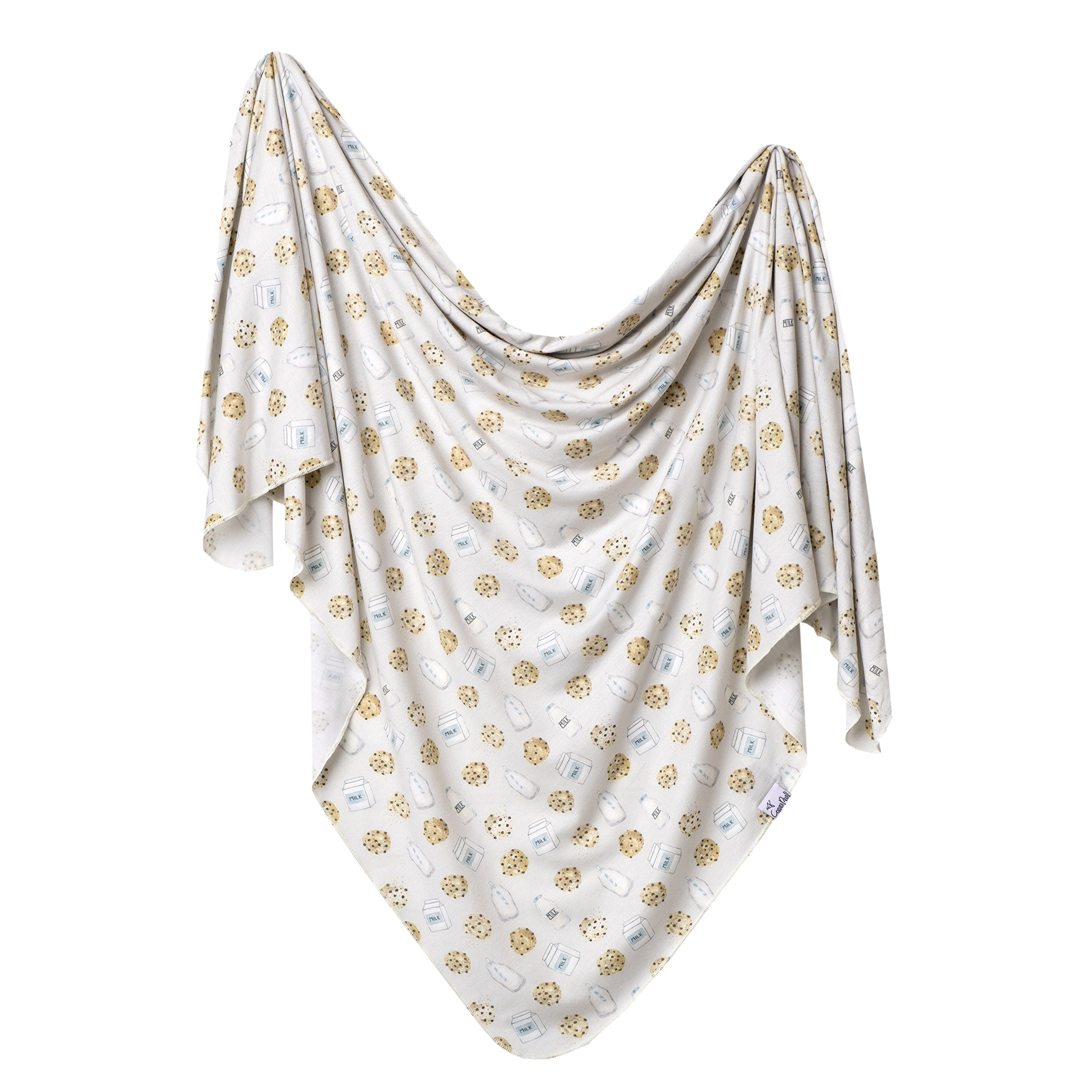 Large Premium Knit Baby Swaddle Receiving Blanket Chip by Copper Pearl