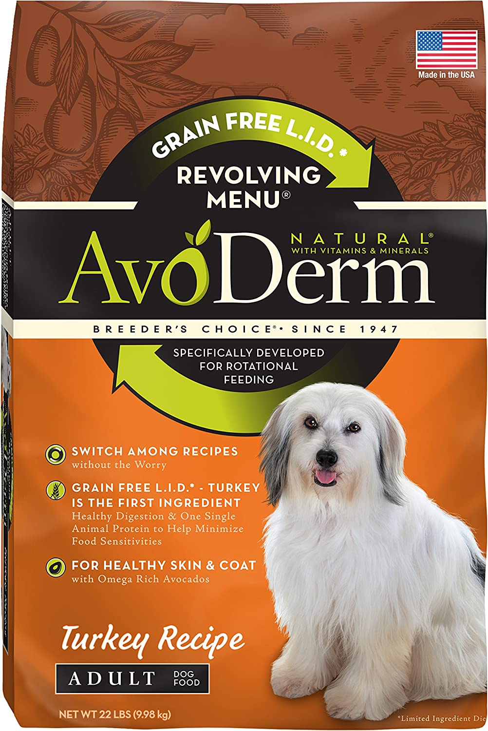 AvoDerm Natural Revolving Menu Dry Dog Food for Rotational Feeding, Food Intolerance and Sensitivities, Turkey