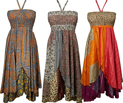 Womens Sundress Recycled Silk Sari Vintage Two Layer Romantic Revelries Halter Dress Wholesale Lot Of 3