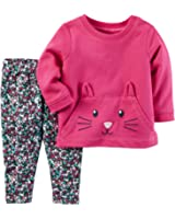 Carter's Girls' 2T-4T Cat Face Long Sleeve Top And Leggings