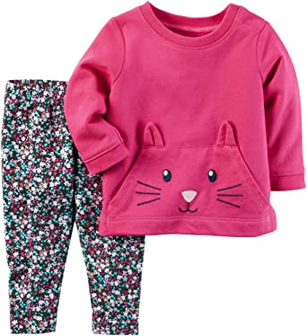 e746eb8382c60 Amazon.com: Carter's Girls' 2T-4T Cat Face Long Sleeve Top and Leggings:  Clothing