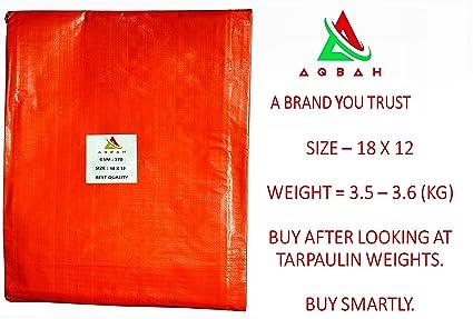 AQBAH Tarpaulin 100% Pure Virgin UV Treated 170 GSM Orange Blue(18 ft x 12 ft) Water Proof Plastic Sheet