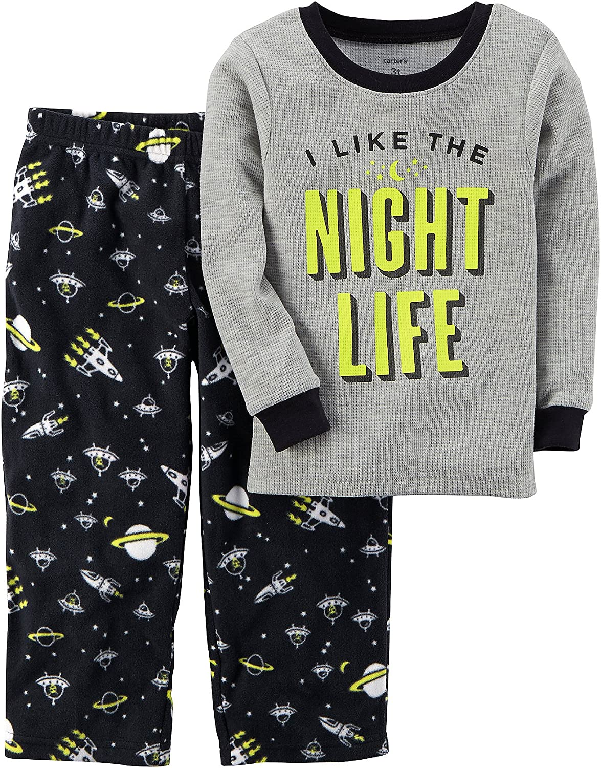 Carters Boys 12M-12 2 Piece Glow-in-The-Dark Cotton Pajamas 18 Months