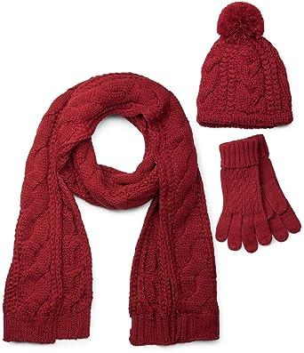 94f253ff2ad27d styleBREAKER Schal, Mütze und Handschuh Set, Zopfmuster Strickschal mit  Bommelmütze und Handschuhe, Damen
