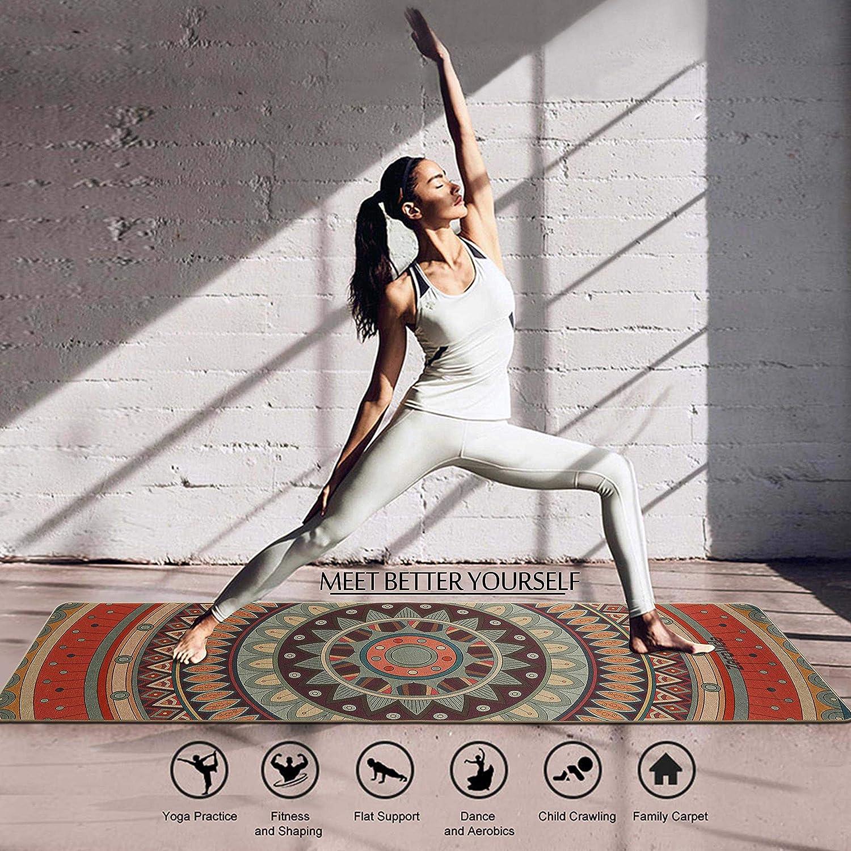0.5cm ZEROVIDA Tapis Yoga Antid/érapant 5MM Yoga Mat Naturel avec Lin Design Indien Exotiques Caoutchouc Ecologique R/ésistant Sueur Id/éal pour Le Hot Yoga Bikram Ashtanga Pilates 183 61
