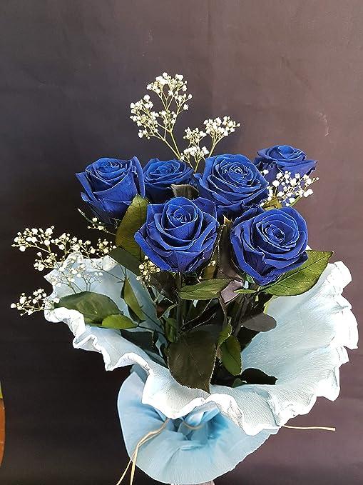 Rosas eternas Azules. Gratis TU Envio. Ramo de Rosas preservadas Azules con Verdes preservados y Rellenos preservados. Ramo DE 6 Rosas. Hecho en españa.: Amazon.es: Hogar