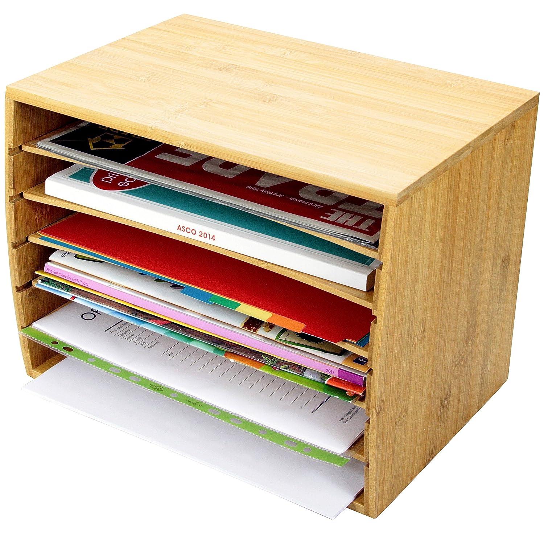 new Trieur de documents de bureau en bambou Document A4 Organiseur