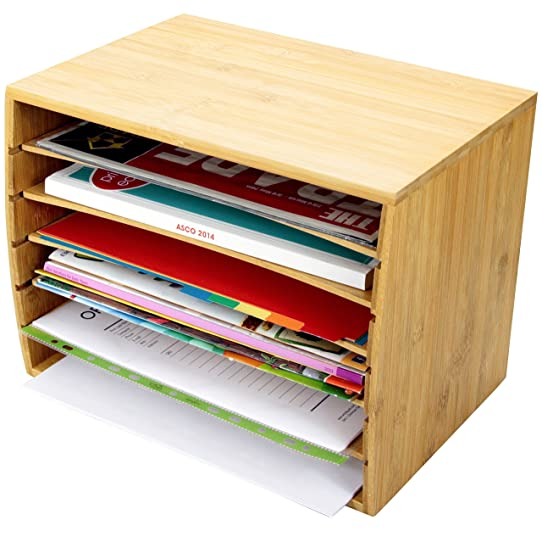 Trieur de documents de bureau en bambou Document A4 Organiseur 5