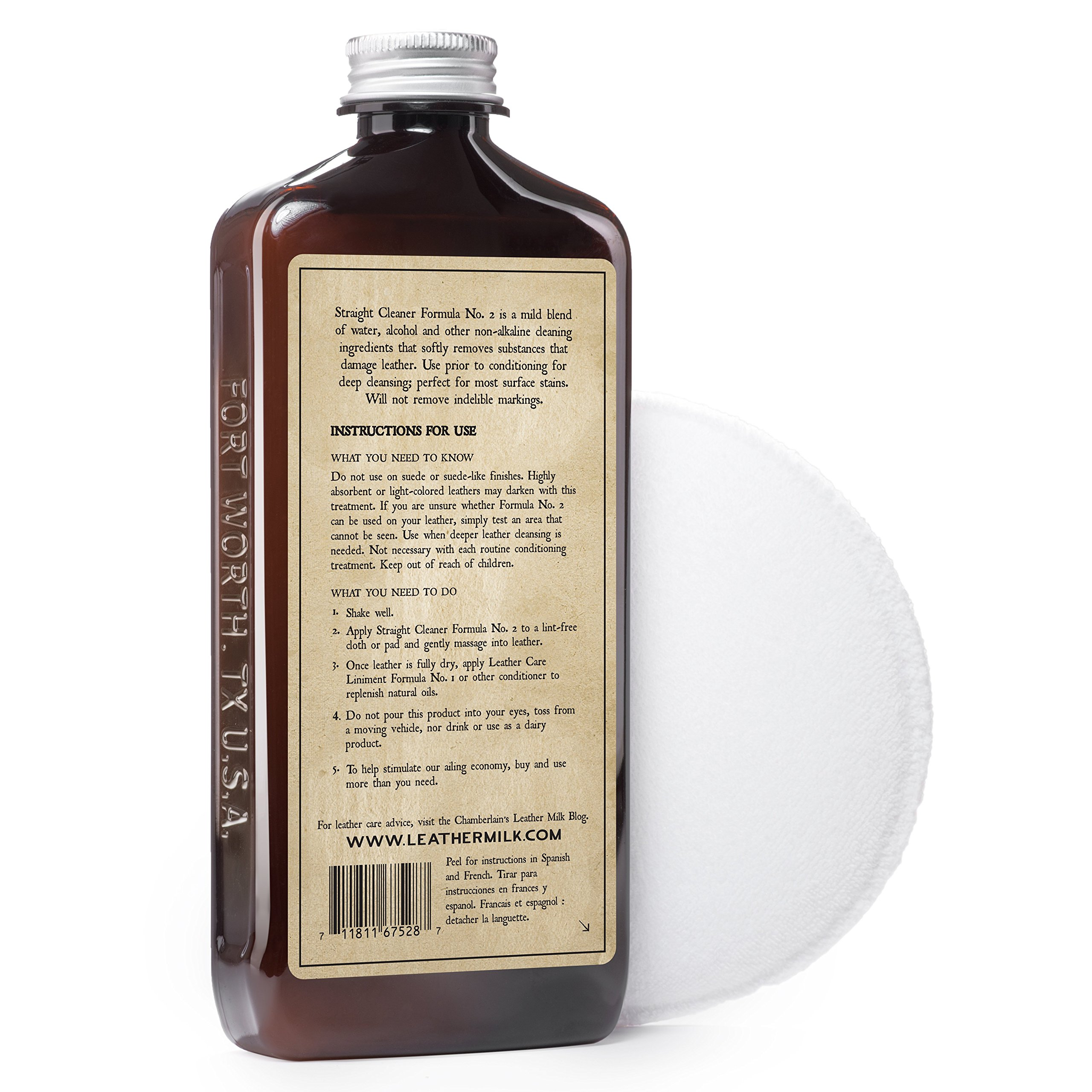 Leather Milk Auto Leather Cleaner & Conditioner Kit (2 Formula Car Detailing Set) - Straight Cleaner No. 2 + Auto Refreshener No. 4 - All Natural, Non-Toxic. Made in USA. Includes 2 Detailing Pads! by Chamberlain's Leather Milk (Image #5)