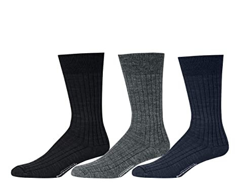 c64eed42f403 Boardroom Socks Men's Mid Calf Merino Wool Ribbed Dress Socks 3 Pack ...