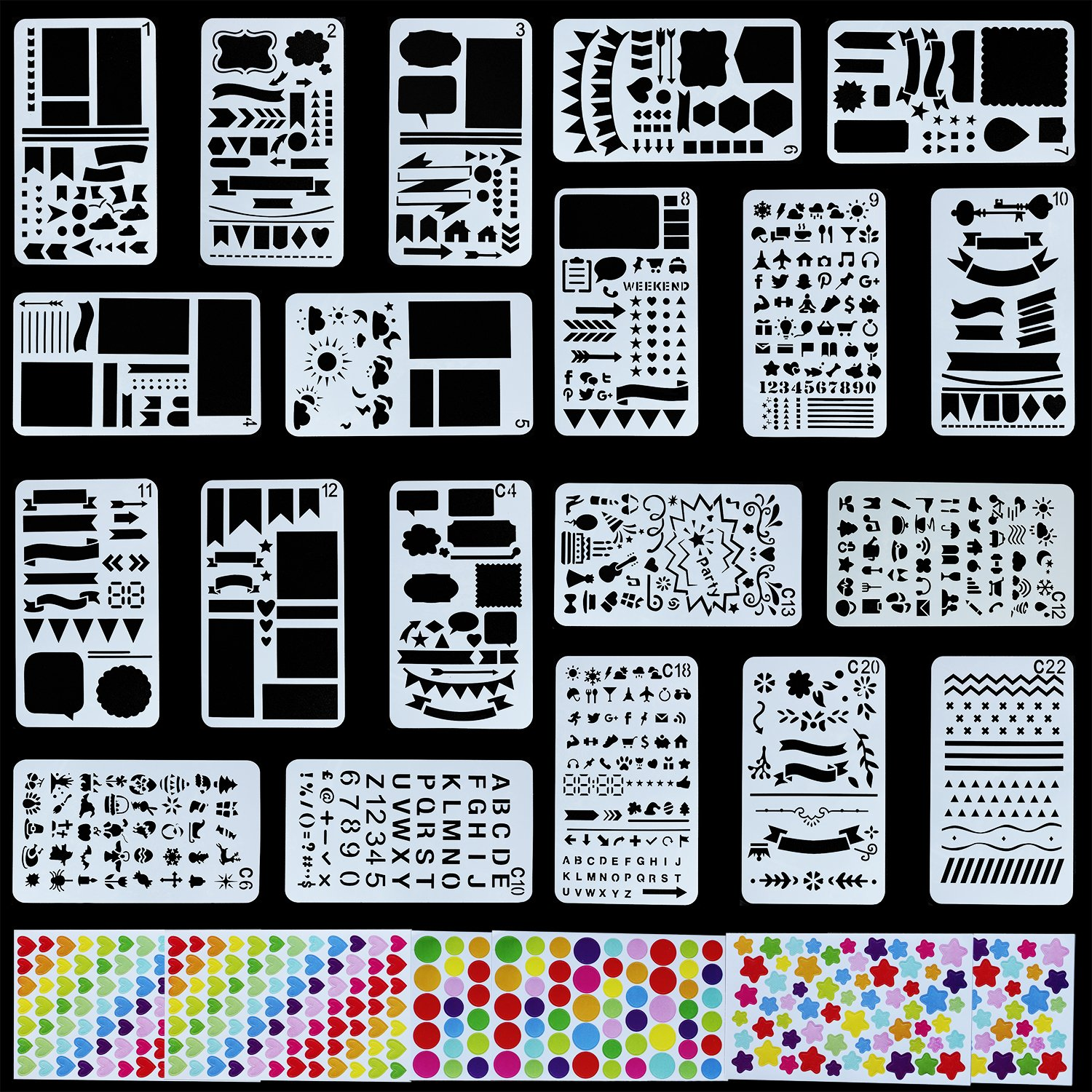 20 Pcs Bullet Journal Stencil + 6 Sheets Stichers Set Plastic Template DIY Drawing Planner for Journal/Notebook/Diary/Scrapbook/Art Craft Projects/Schedule Book DIY Drawing Template, 4x7 Inch(26 PCS) MIKISHINE