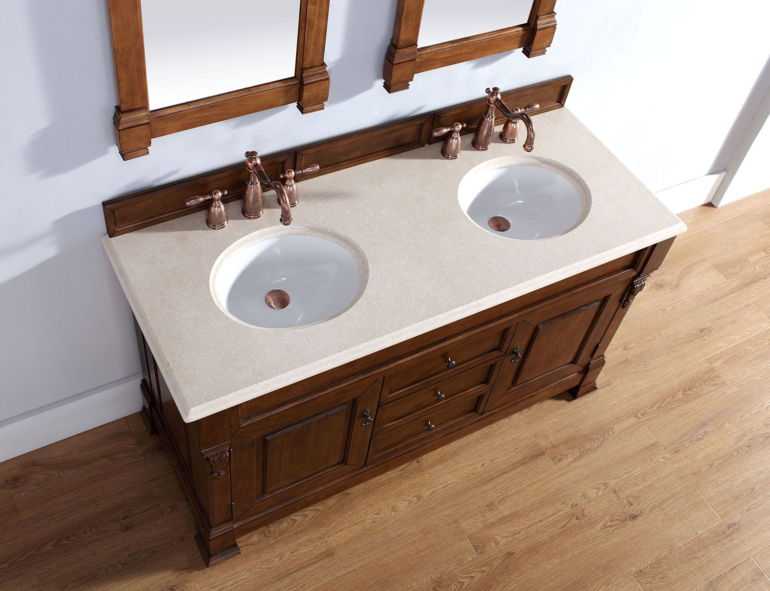 James Martin 147-114-5671-GLB Brookfield 60'' Country Oak Double Vanity with Galala Beige Stone Top