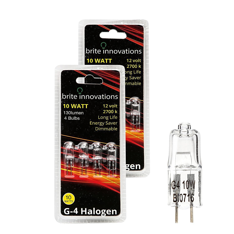 Brite Innovations G4 Halogen Bulb, 10 Watt (8 Pack) Dimmable Soft White 2700K -12V-Bi Pin -, T3 JC Type, Clear Light Bulb