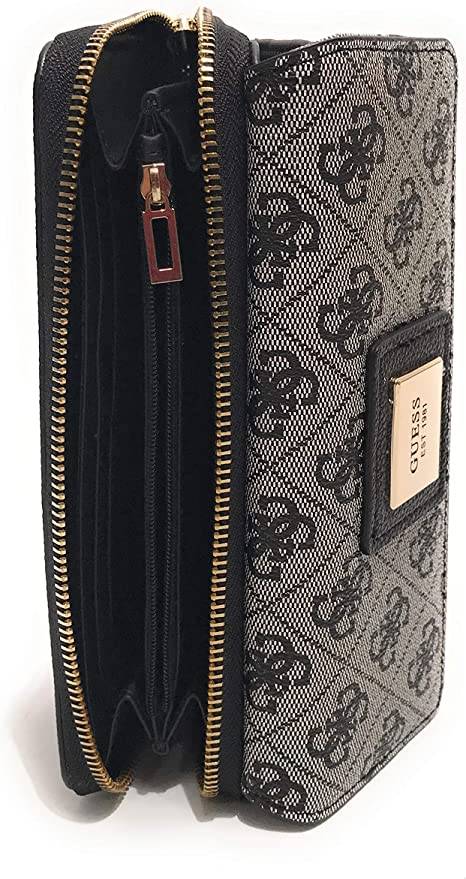Guess Portafoglio donna Candace Slg large clutch organizer ecopelle nero multilogo AS20GU30