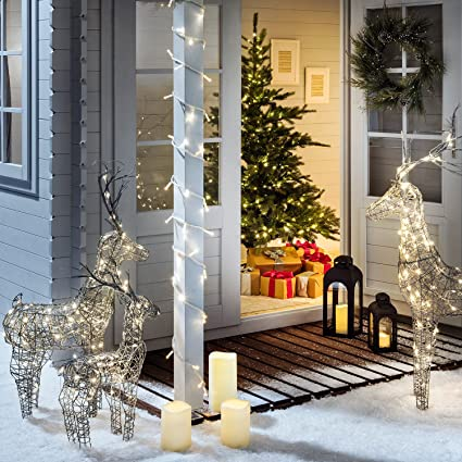 Lights4fun Conjunto de 3 Renos Estacas Luminosas LED Blanco C/álidos para Exteriores