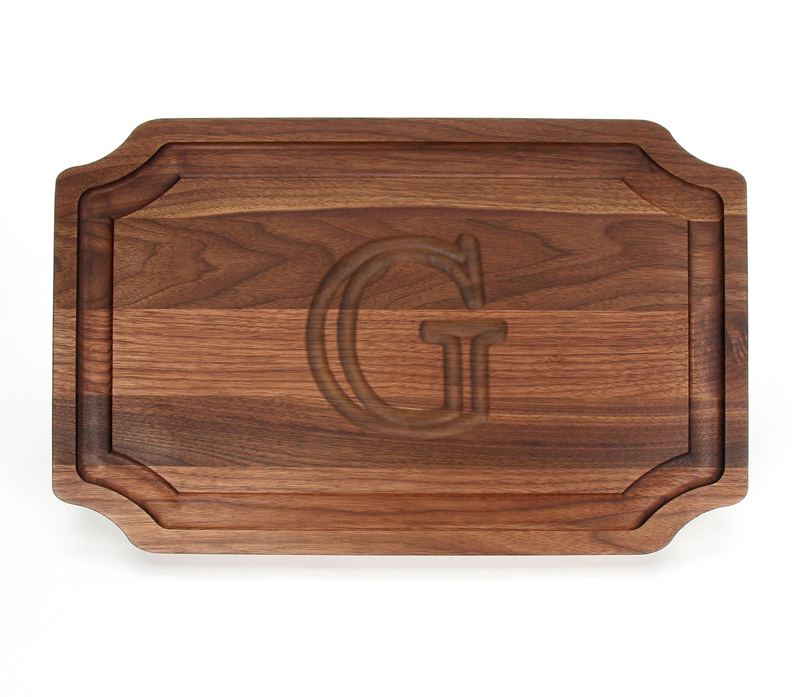BigWood Boards W320-G Carving Board, Carving Board with Juice Well, Large Personalized Cutting Board with Juice Groove, Walnut Serving Platter, ''G''