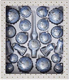 Kugel eisblau mit silberner Winterlandschaft 10cm 4 St/ück per Box