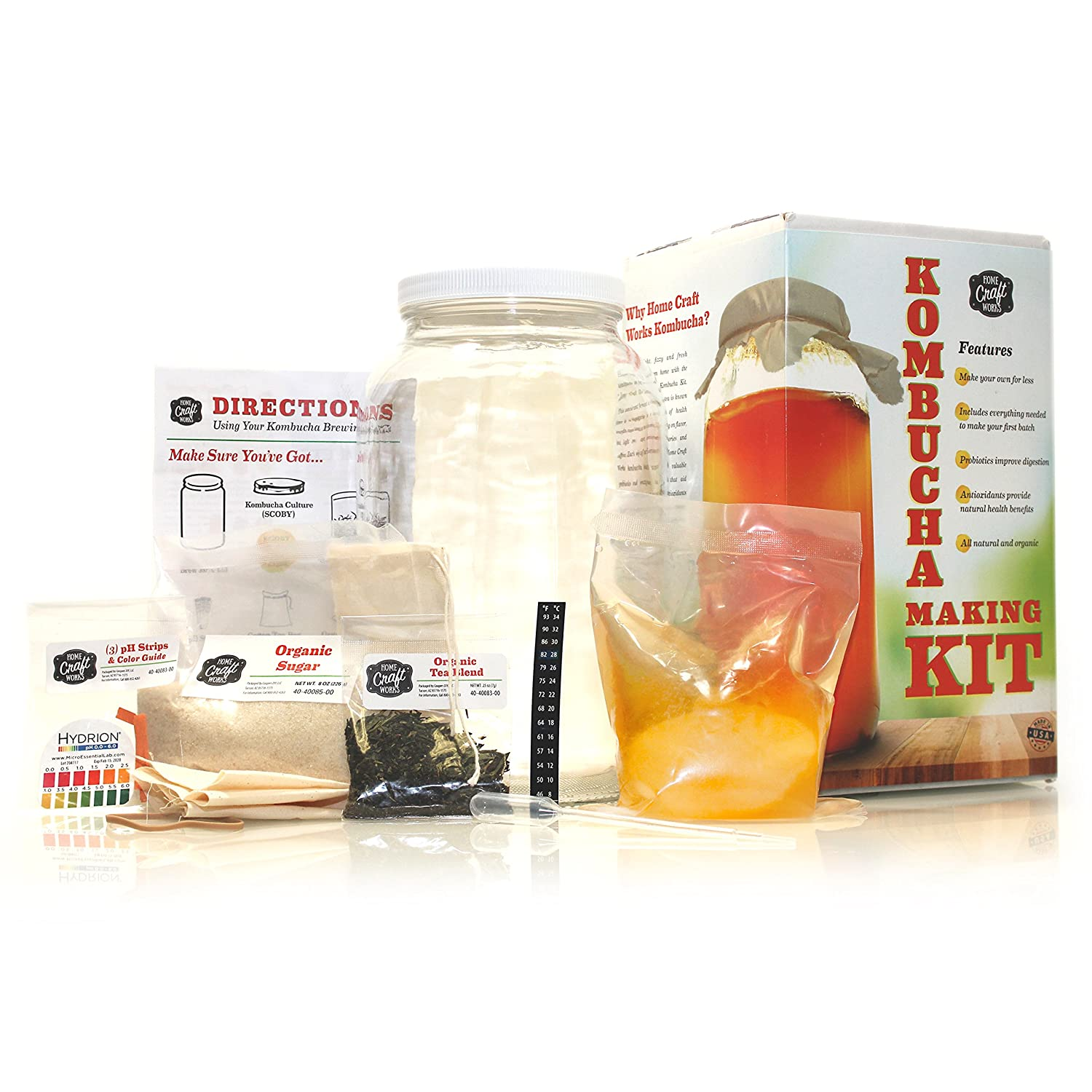 Home Craft Works Kombucha Brewing Kit Includes Organic Kombucha Scoby, Glass Brew Jar, Organic Loose Leaf Tea, Temperature Gauge, Organic Sugar, pH strips, cotton tea bag, and organic cotton cover 20080