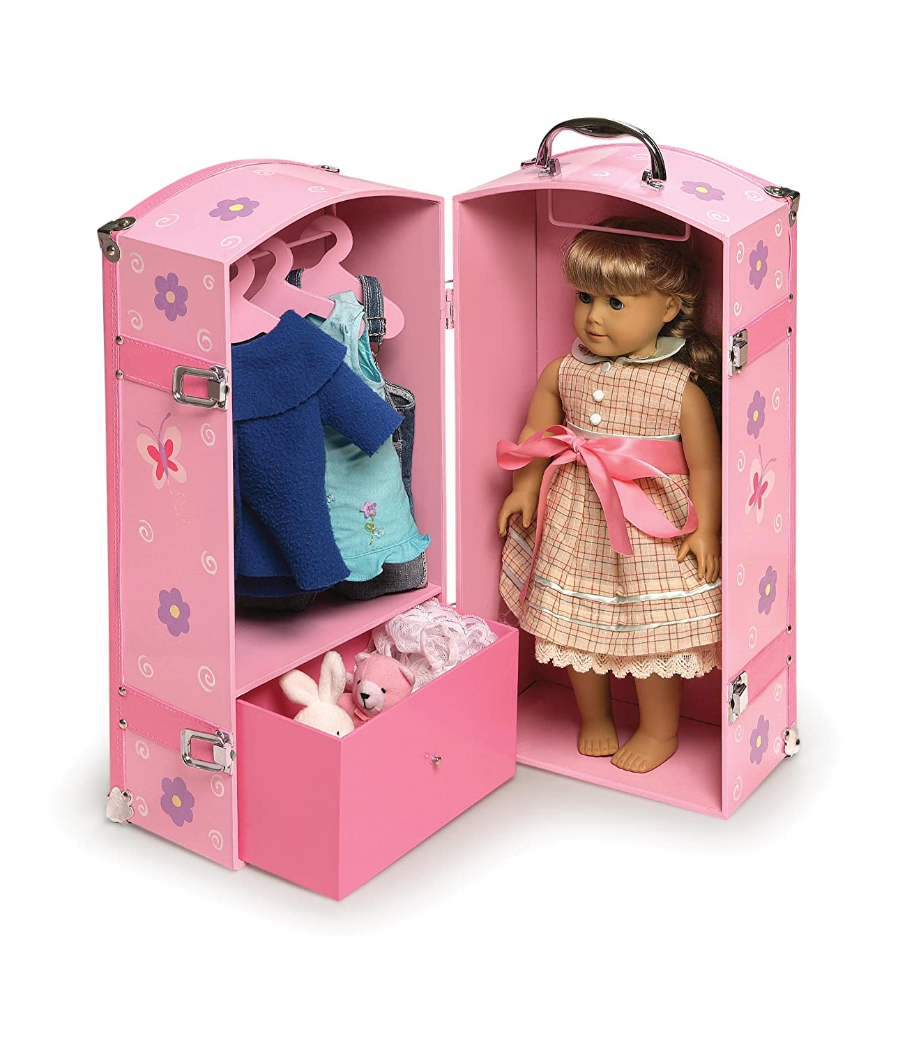 Amazon.com: Badger Basket Blossoms And Butterflies Doll Storage Trunk    Pink/Purple: Toys U0026 Games