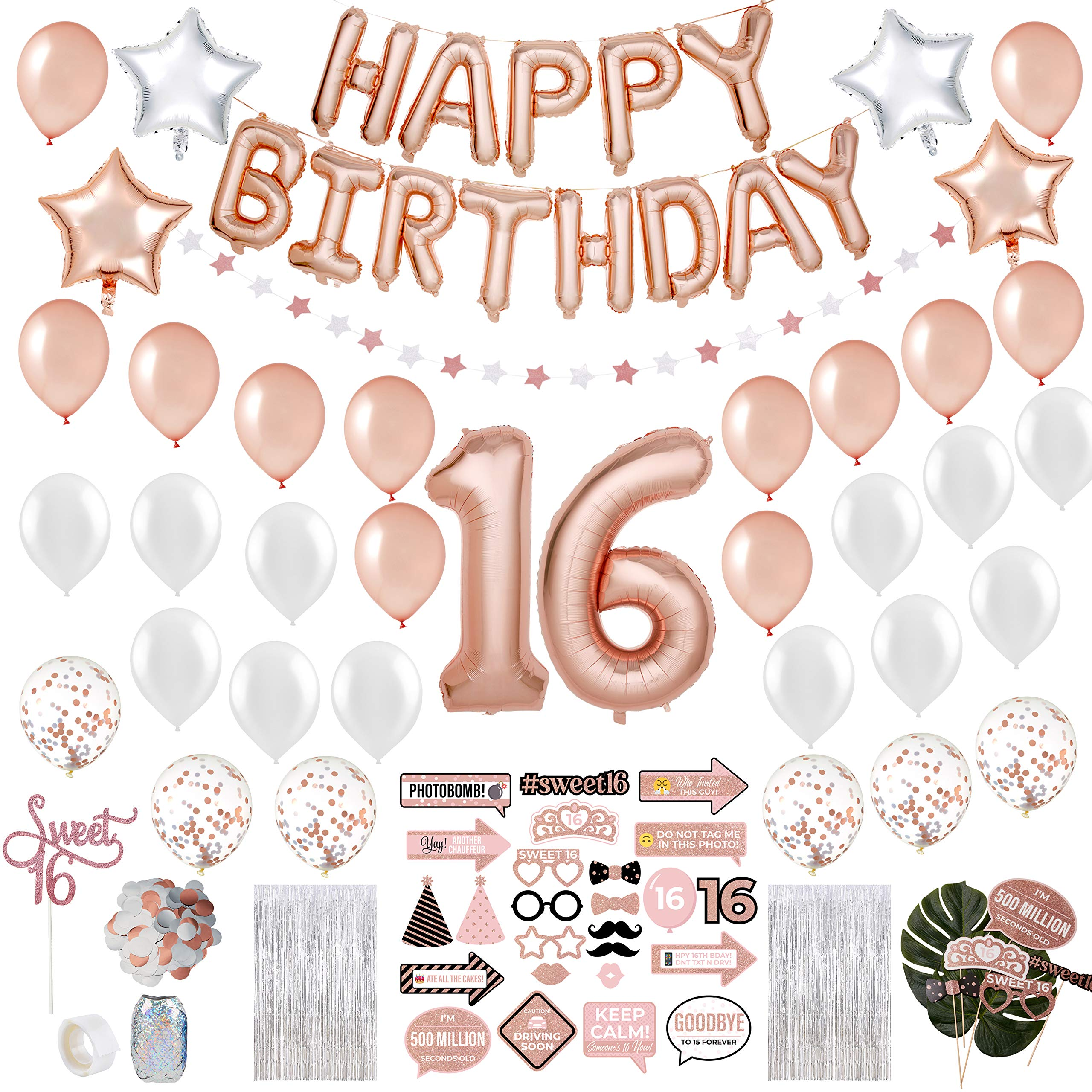 Sweet 16 Party Supplies WITH Photo Booth Backdrop and Props -Rose Gold Sweet 16 Decorations - 16th Birthday Party Supplies WITH Happy Birthday Banner, 16, Confetti and Mylar Balloons|Sweet Sixteen by PartyHooman