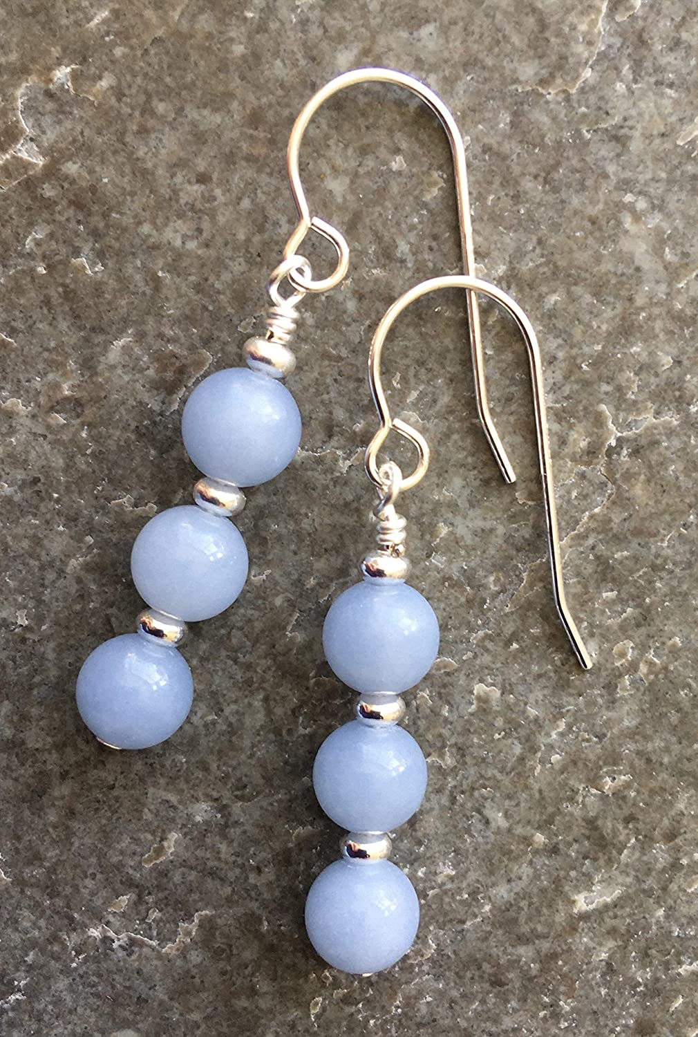 Pale Blue Angelite /& Sterling Silver Drop Earrings with Gift Box